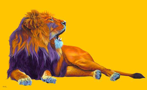 Helmut Koller -  Orange Lion On Yellow